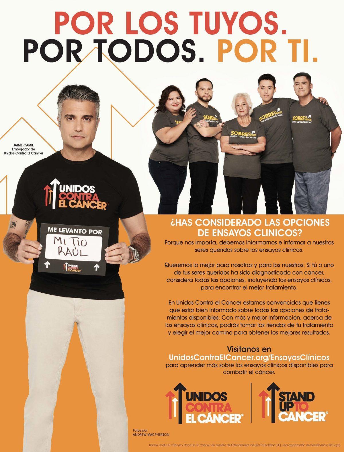 Jaime Camil se une a los sobrevivientes de cáncer en un nuevo PSA para Unidos Contra El Cáncer® para fomentar la participación hispana en los ensayos clínicos sobre el cáncer