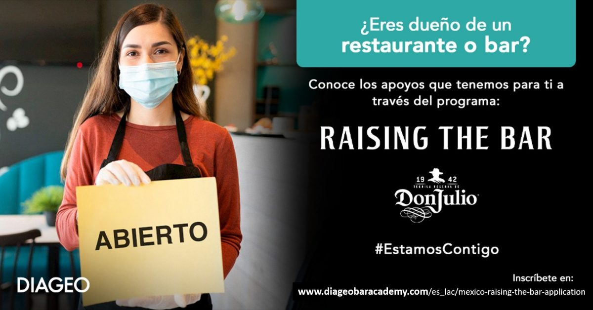 Diageo extiende apoyos para restaurantes y bares en México a través de su programa Raising The Bar